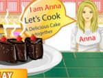 Anna cooking chocolate cake